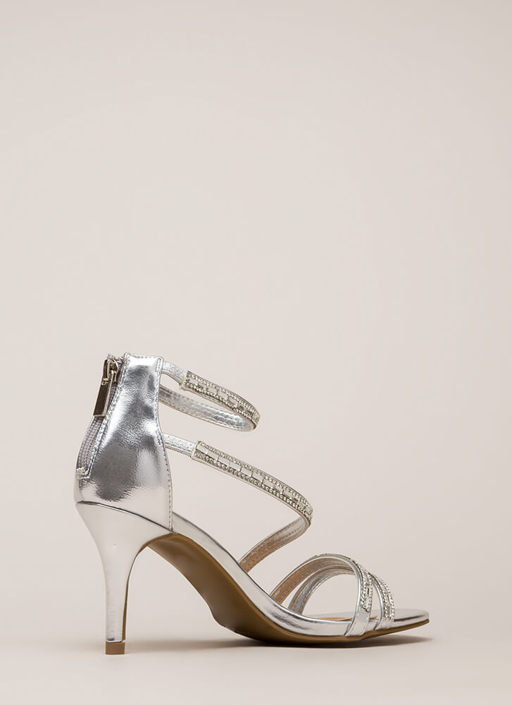 230566a1020 Strappy Holidays Metallic Jeweled Heels ROSEGOLD GOLD SILVER ...