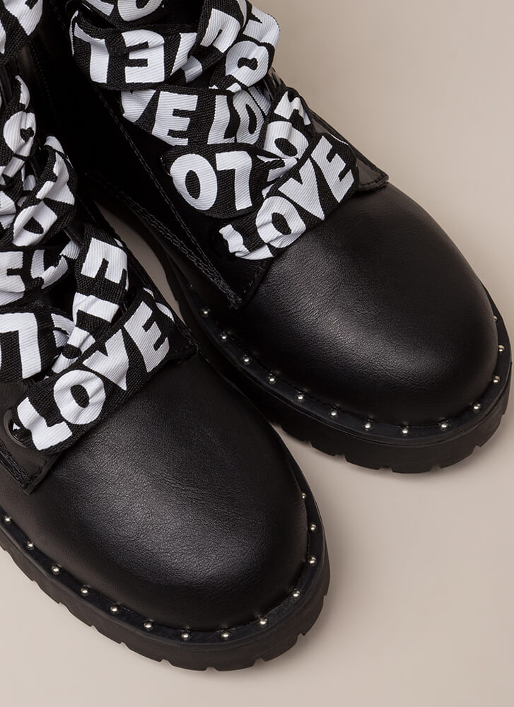 Love And War Faux Leather Combat Boots BLACK