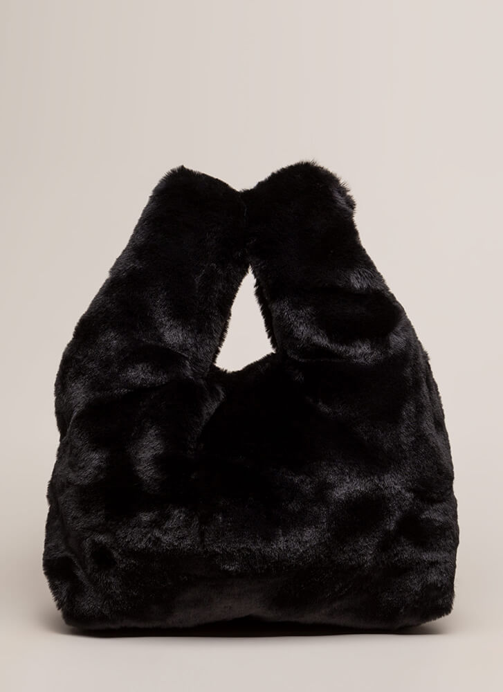 Soft And Fluffy Faux Fur Tote Bag BLACK