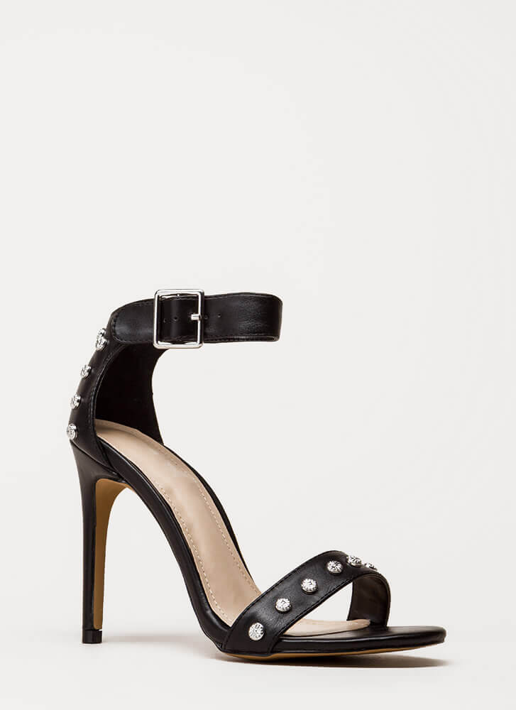 Hot Hardware Studded Ankle Strap Heels BLACK