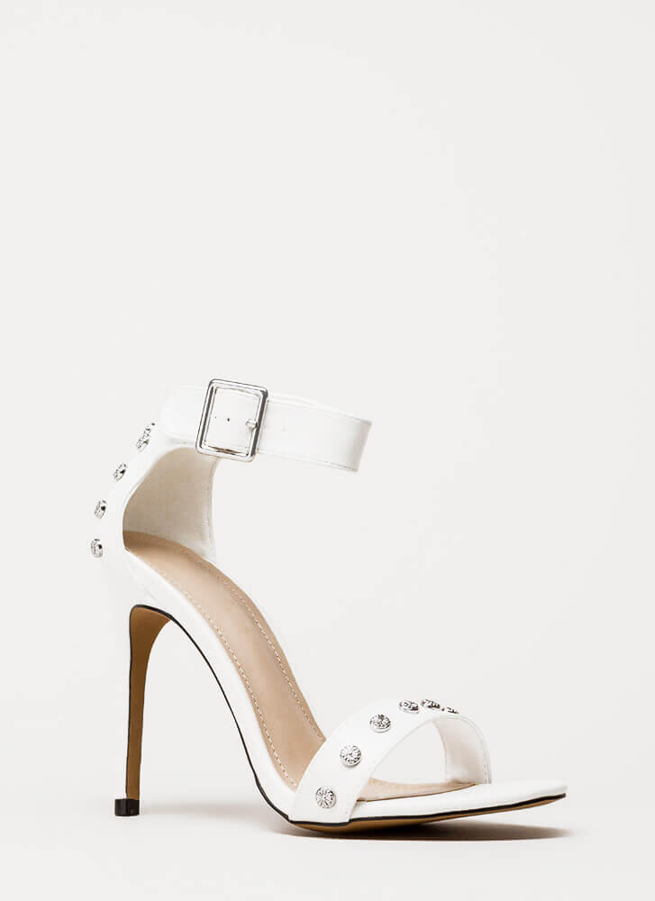Hot Hardware Studded Ankle Strap Heels WHITE