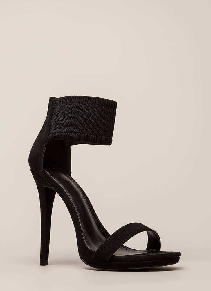 Knits For The Best Ankle Cuff Heels BLACK