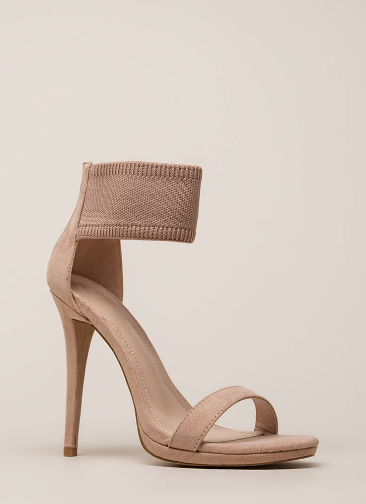 Knits For The Best Ankle Cuff Heels TAUPE