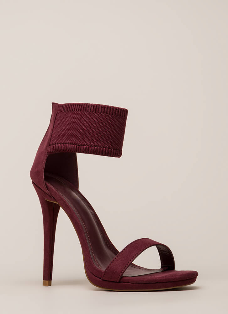 Knits For The Best Ankle Cuff Heels WINE