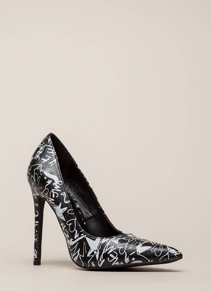Draw Interest Pointy Doodle Print Pumps BLACK