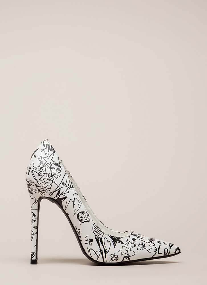 Draw Interest Pointy Doodle Print Pumps WHITE
