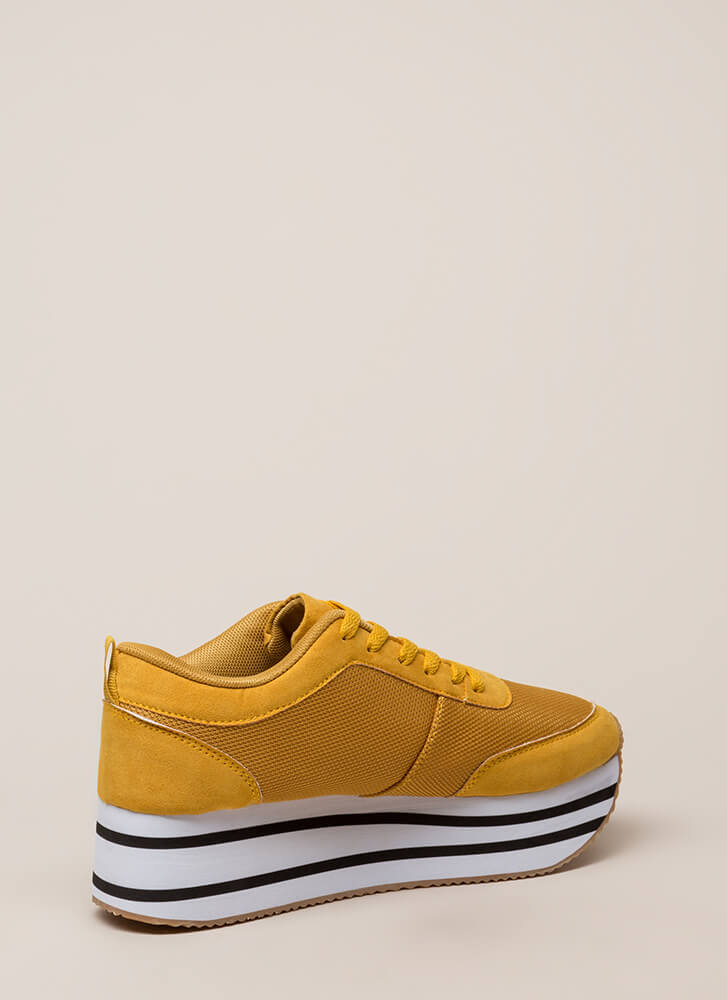 Mad Ups Sporty Striped Platform Sneakers MUSTARD