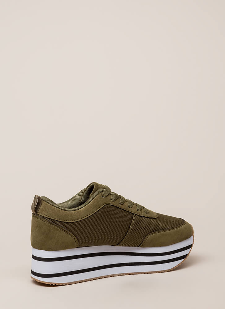 Mad Ups Sporty Striped Platform Sneakers OLIVE
