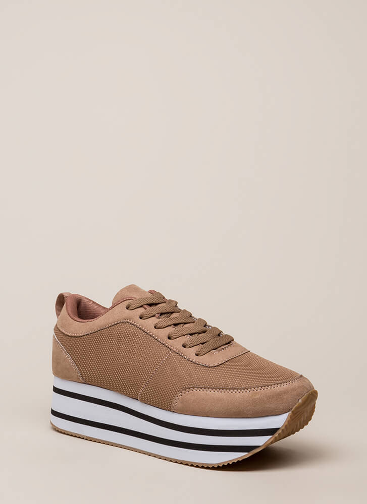 Mad Ups Sporty Striped Platform Sneakers TAUPE