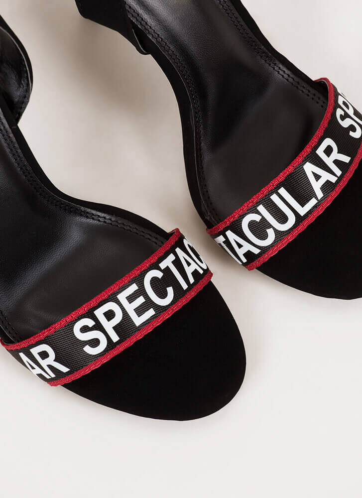 Spectacular Strappy Graphic Heels BLACK
