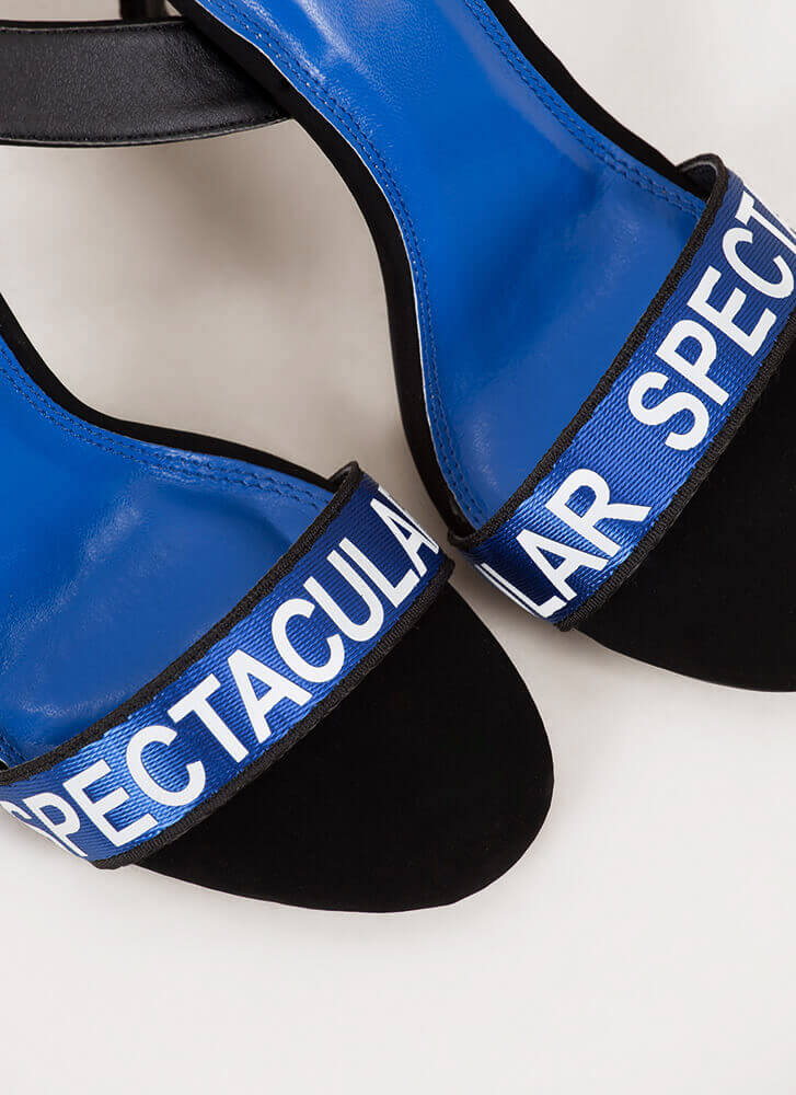 Spectacular Strappy Graphic Heels BLUE