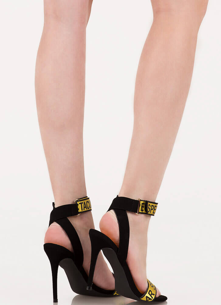 Spectacular Strappy Graphic Heels YELLOW