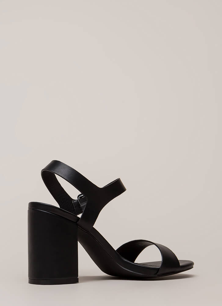 Girls' Day Chunky Faux Leather Heels BLACK