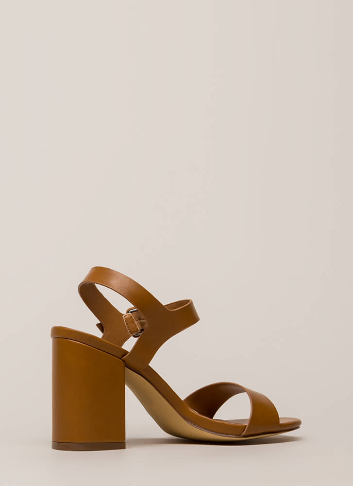 Girls' Day Chunky Faux Leather Heels TAN