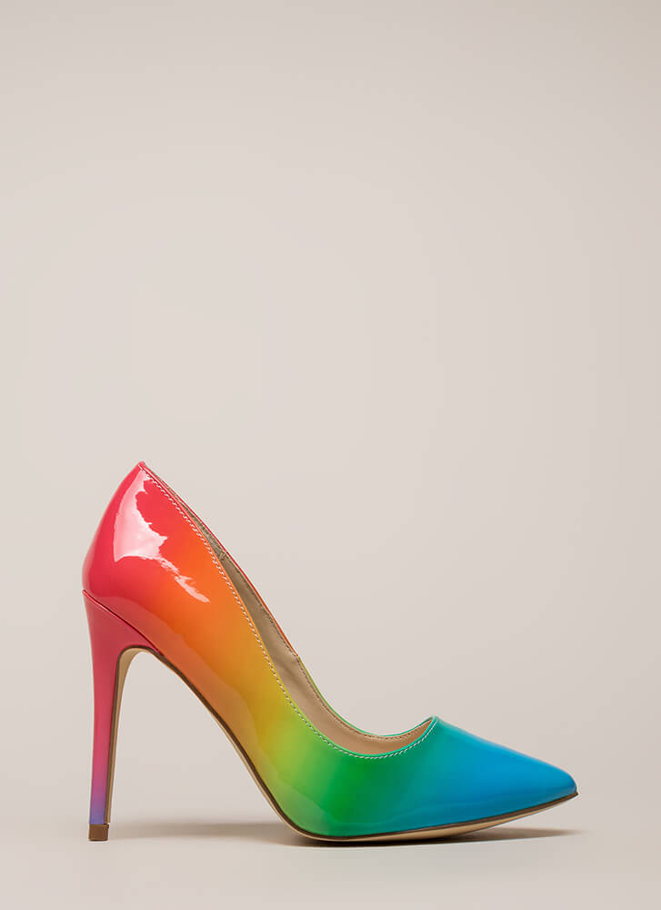 Living Color Pointy Rainbow Pumps MULTI