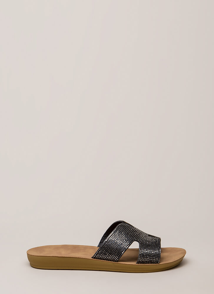 Beach Bling Rhinestone Slide Sandals BLACK