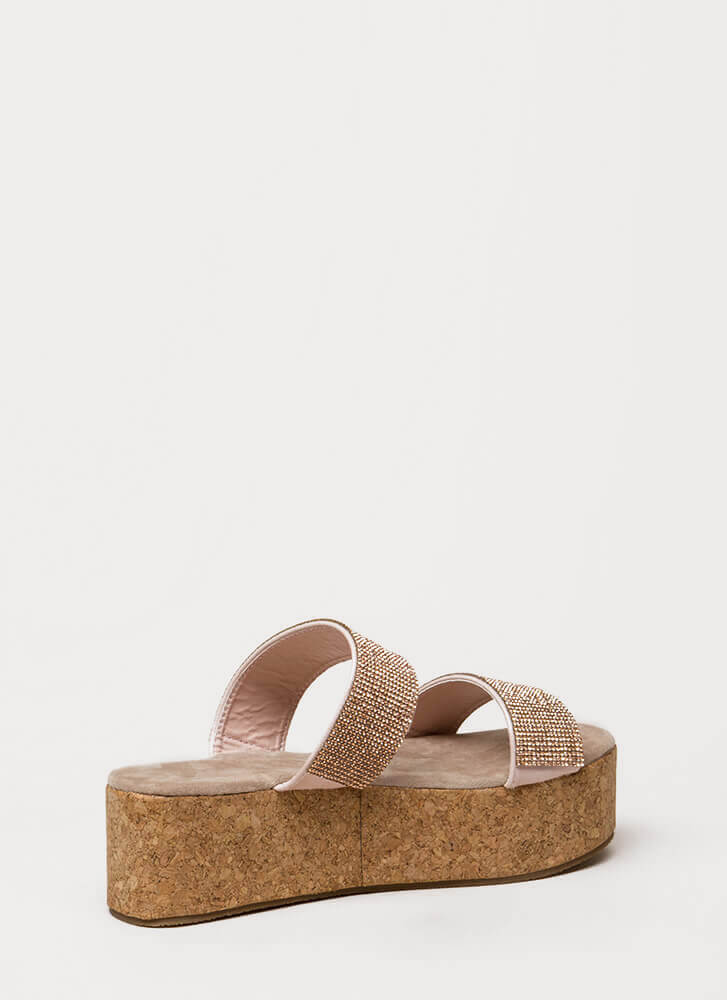 Elevate Jeweled Platform Slide Sandals ROSEGOLD