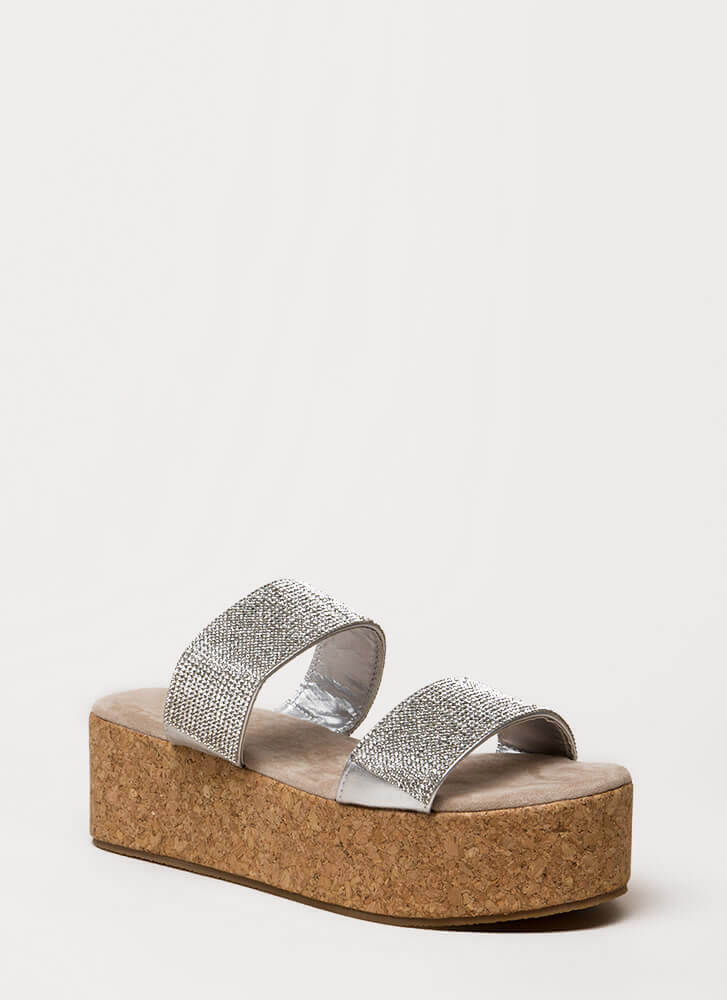 Elevate Jeweled Platform Slide Sandals SILVER