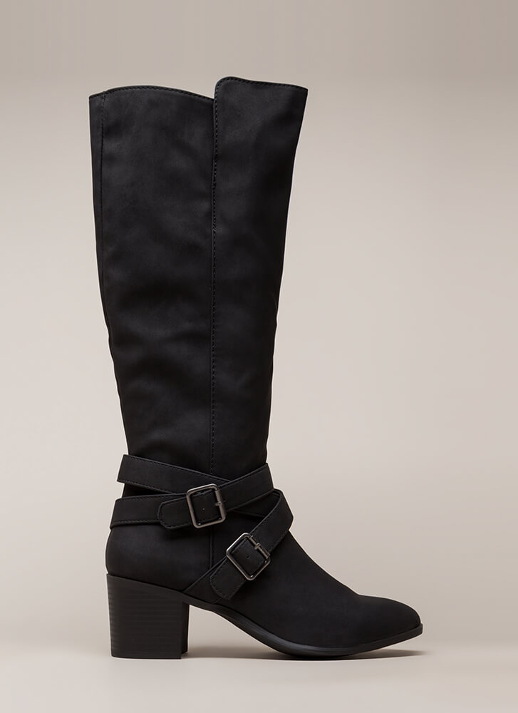 Equestrian Chunky Strappy Riding Boots BLACK (Final Sale)