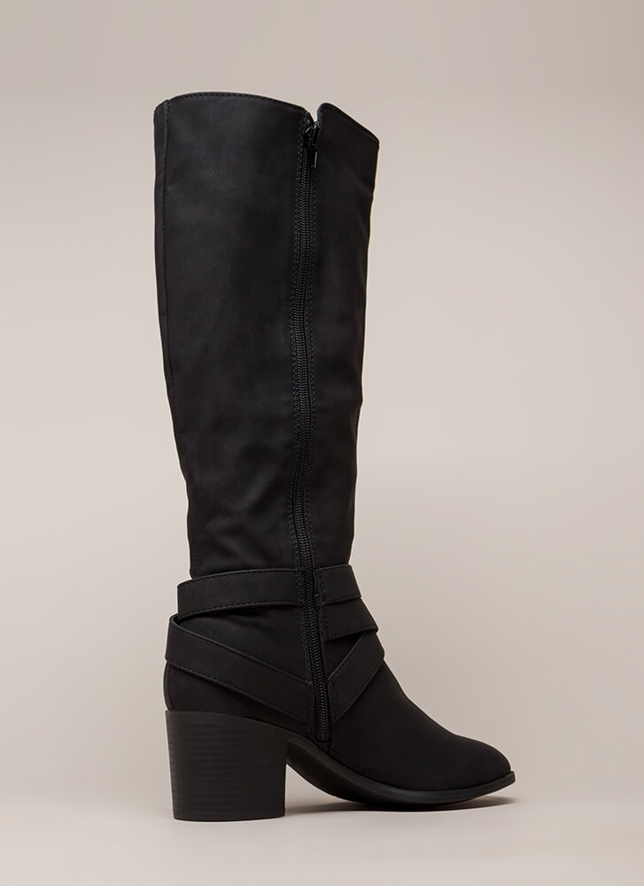Equestrian Chunky Strappy Riding Boots BLACK