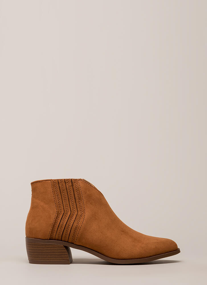 Fast Forward Notched Block Heel Booties RUST