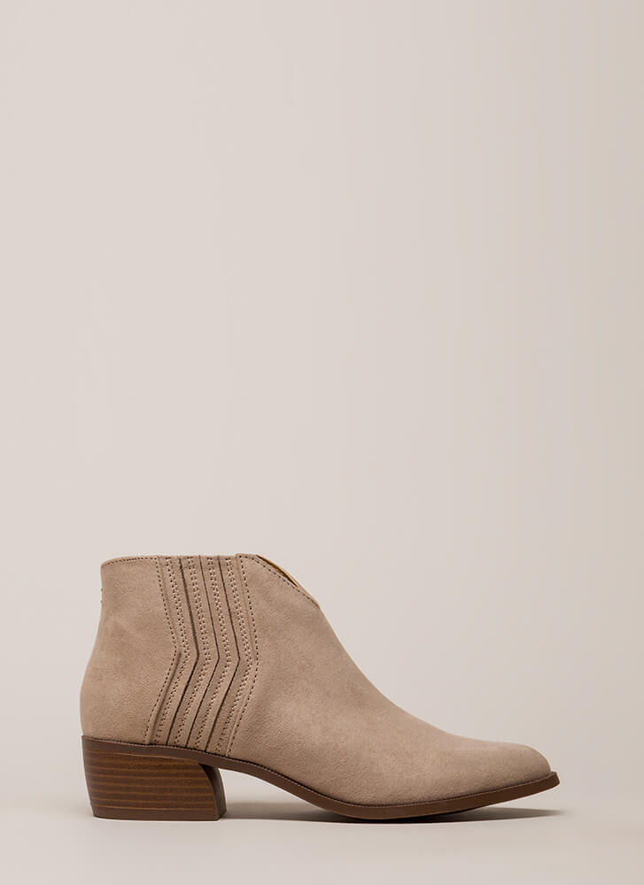 Fast Forward Notched Block Heel Booties TAUPE