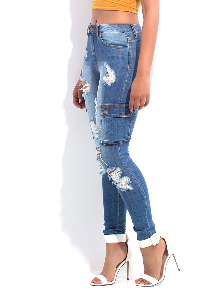 Carry On Distressed Cargo Jeans BLUE