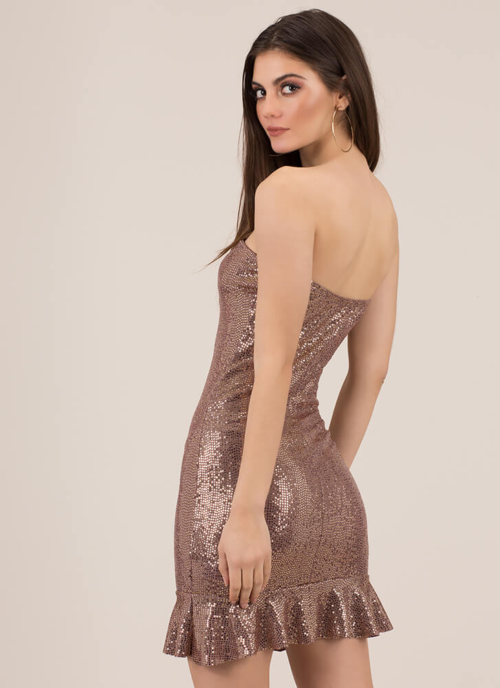 Party Girl Strapless Sequined Dress GOLD