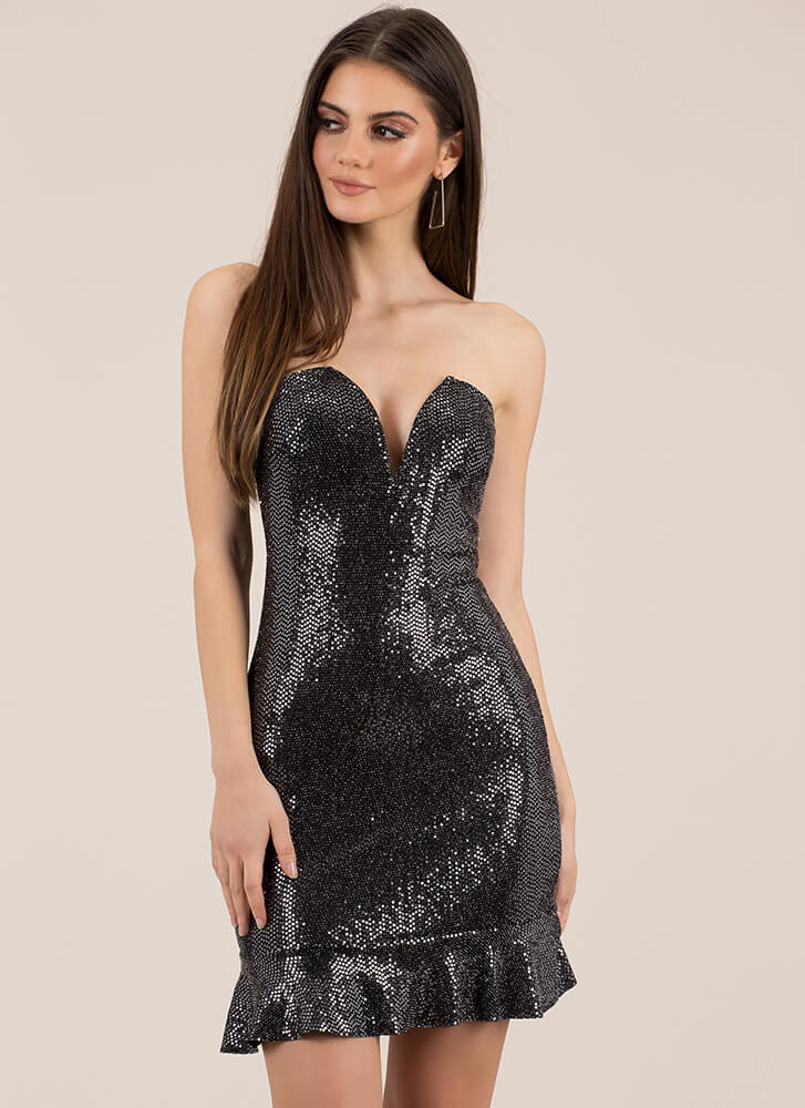 Party Girl Strapless Sequined Dress SILVER