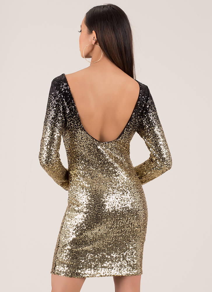 Sparkle Party Sequined Ombre Minidress BLACKGOLD