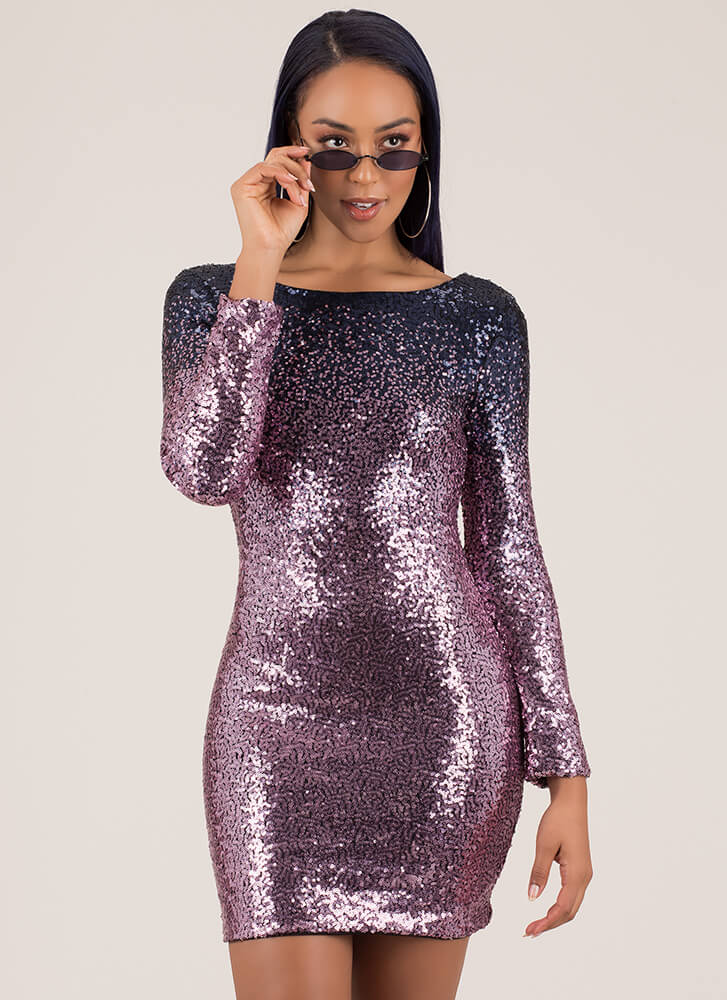Sparkle Party Sequined Ombre Minidress NAVYPINK
