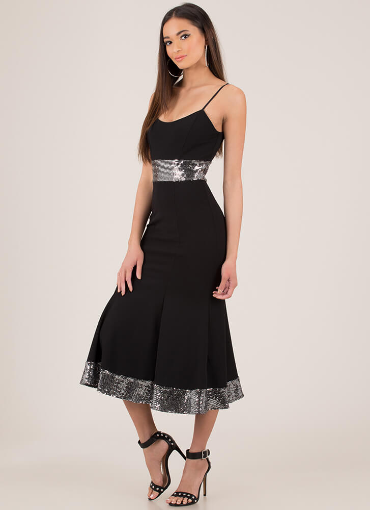 Big Band Sequined Fit-And-Flare Dress BLACKSILVER