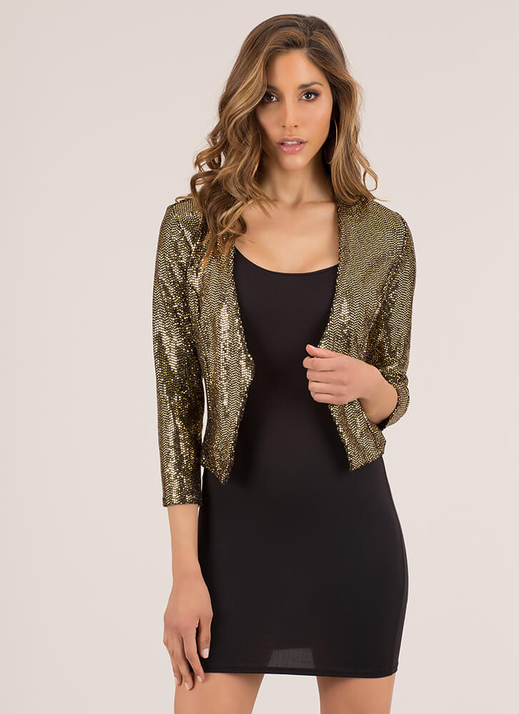 Top This Sequined Cropped Blazer GOLD
