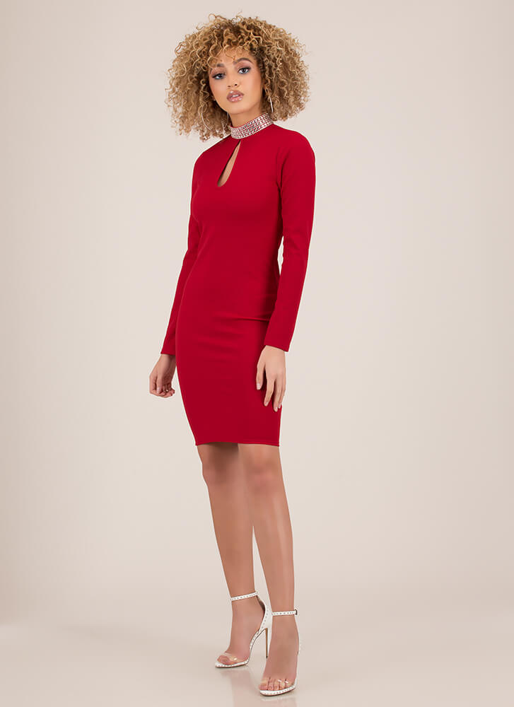 True Collars Jeweled Keyhole Midi Dress RED