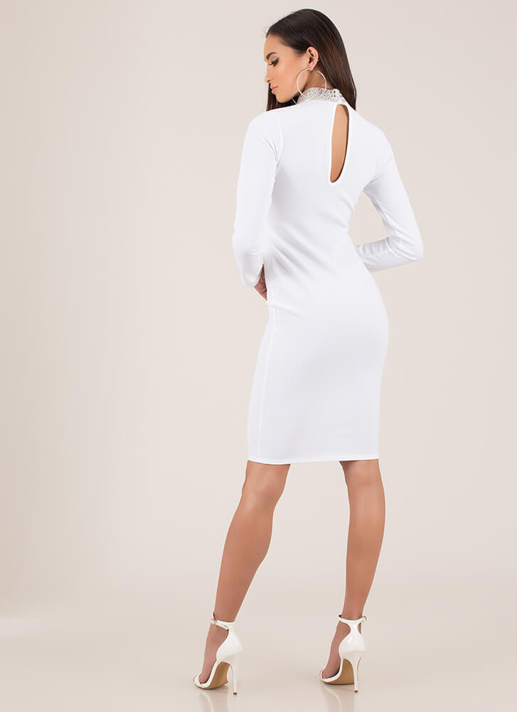 True Collars Jeweled Keyhole Midi Dress WHITE