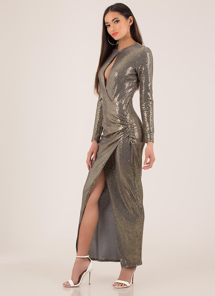 Sparkly Entrance Draped Metallic Gown GOLD