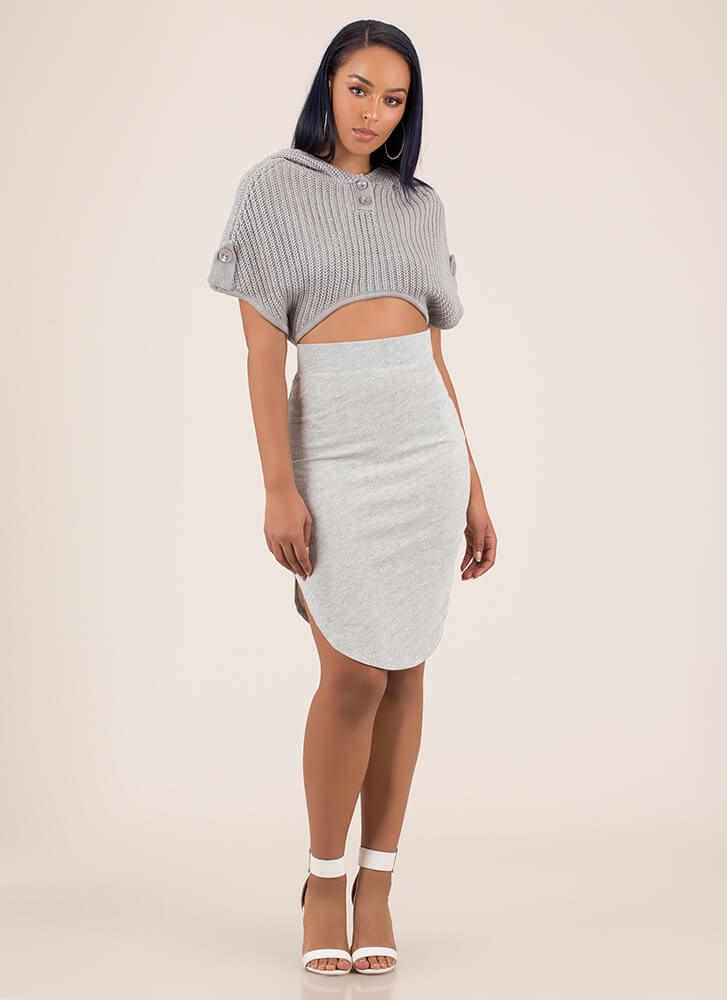 Keep Things Casual Round Hem Skirt HGREY