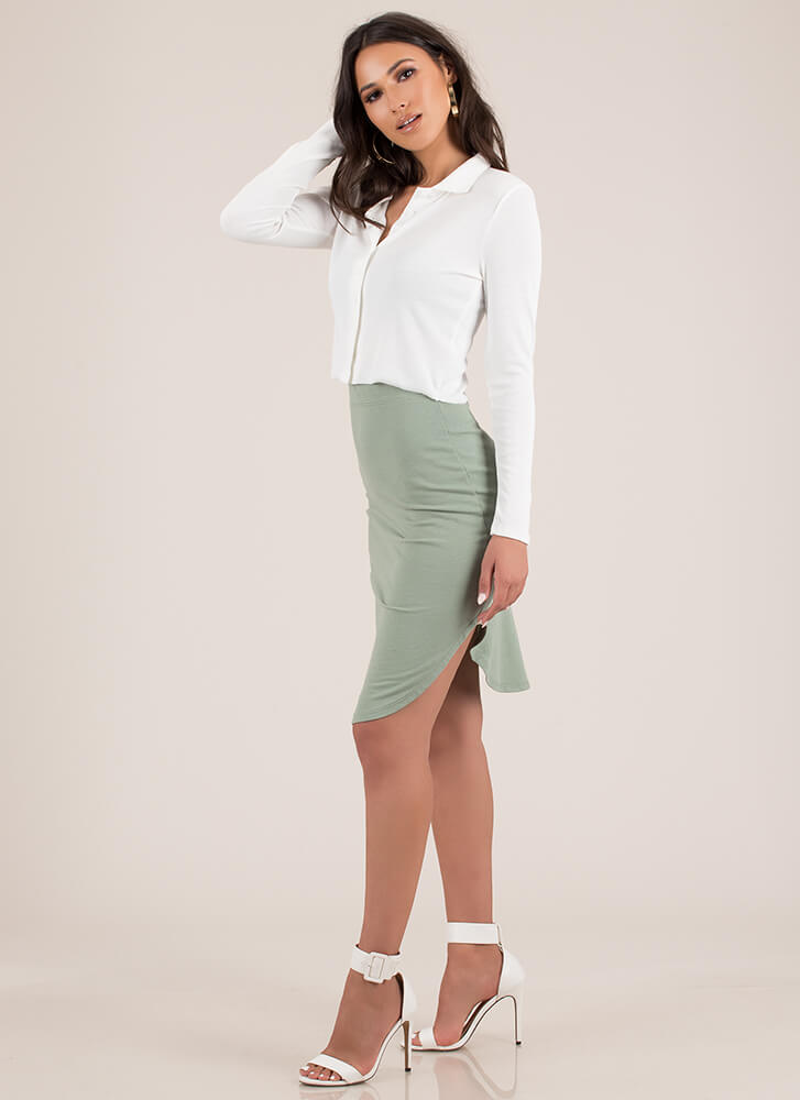 Keep Things Casual Round Hem Skirt LTOLIVE