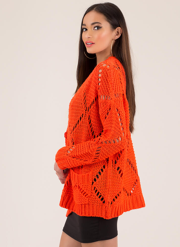 I Love Lattice Oversized Knit Cardigan NEONORANGE