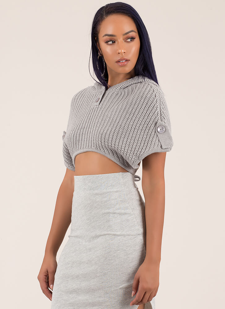Snuggle Up Knit Hooded Crop Top HGREY