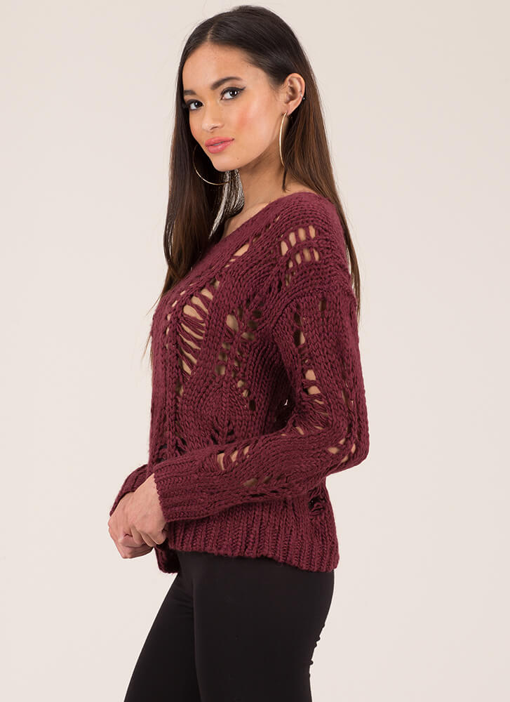 Web Design Openwork Knit Sweater BURGUNDY