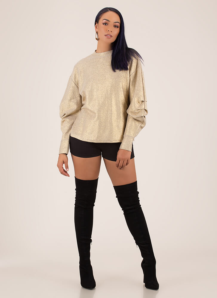 Pick-Up Metallic Puffy Sleeve Sweatshirt LTGOLD