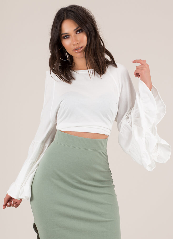 Happy Tiers Ruffled Bell-Sleeve Top WHITE