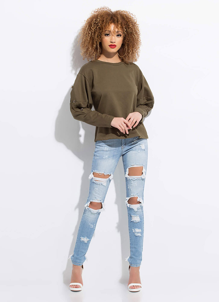 Cute As A Button Puff Sleeve Sweatshirt OLIVE