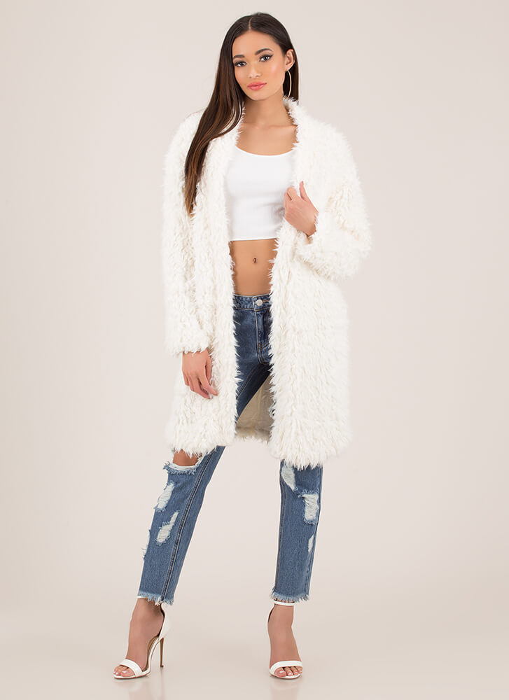 Ice Queen Shaggy Faux Fur Coat IVORY