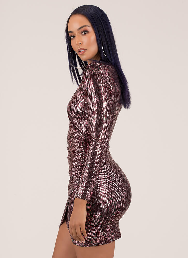 Wrap Party Sparkly Sequined Minidress PINK