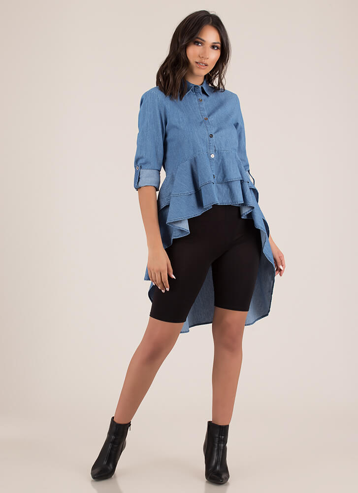 Chambray Shirt High-Low Peplum Blouse BLUE