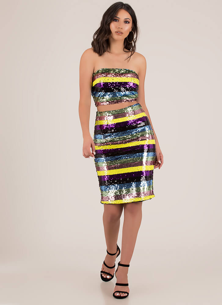 Stripes And Sequins 2-Piece Tube Dress MULTI