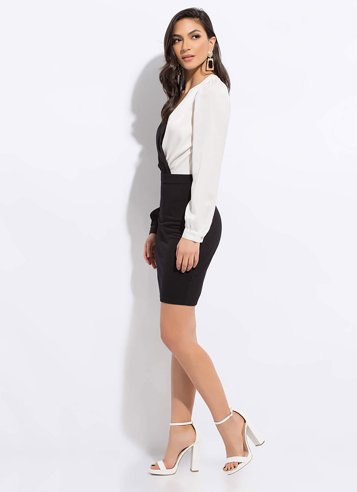 Better Half Blousy Colorblock Dress BLACKWHITE
