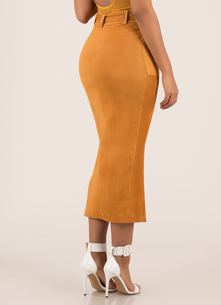 Work It Belted Faux Suede Maxi Skirt MUSTARD